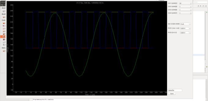 Avdd powered from regulator_ 4.7u decoupling cap_blue 1x square green 32x sine