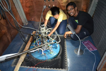 abhishek and leena working during precooling of the cryostat